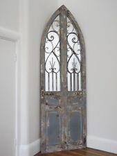 BEAUTIFUL RUSTIC WROUGHT IRON & WOODEN DOOR HOME GARDEN MIRROR LARGE (3377)