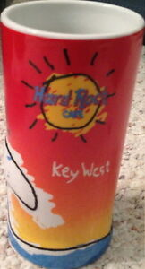 "Hard Rock Cafe KEY WEST 3-D Ceramic 6"" Tall DRINK GLASS Surfs Up CUP GLASSWARE"