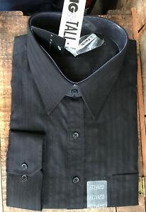 NWT MENS BIG & TALL J FERRAR 2XLT BLACK STRIPED LONG SLEEVE BUTTON DRESS SHIRT