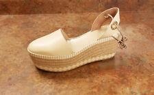 New! Tory Burch 'Dandy' Beige Espadrille Wedge Sandals Womens 9.5 M MSRP $375