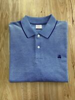 Brooks Brothers Polo Shirt Adult XL Solid blue Cotton Casual Short Sleeve Mens
