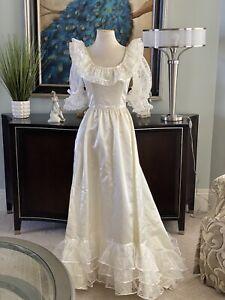 Vintage Wedding Bride Dress Gown Satin Belle Ball