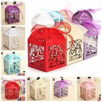 100Pcs Love Heart Laser Cut Candy Gift Boxes W/ Ribbon Wedding Party Favor Gift