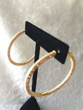 "DIAMONIQUE 1-3/4"" PAVE' HOOP EARRINGS, 18K YELLOW GOLD-CLAD STERLING"