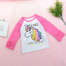 Toddler Kids Baby Girls Cotton Long Sleeve Unicorn T-shirt Tops Clothes Outfits