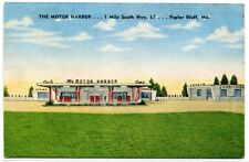 The Motor Harbor Gas Station Cafe Poplar Bluff Missouri 1953 linen postcard