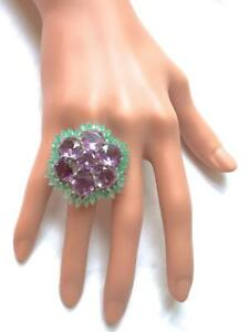 32.13 TCW Amethyst & Emerald Floral Cluster Large Statement 925 Pure Silver Ring