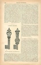 Serrurerie Clef Clé en Fer XVIe /Église Saint-Taurin à Évreux GRAVURE PRINT 1877