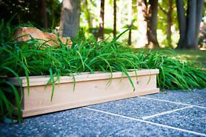 Teak wood planter flower herb tree window box garden 37x9x8  (OD)