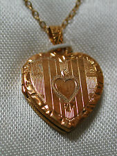 NOS Antique BARROWS 10k Yellow Gold Heart Locket Pendant w/ Chain in Box #R34