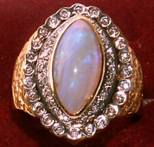 HUGE VINTAGE 18K 1CT DIAMONDS & 3.5CT OPAL MARQUIS RING