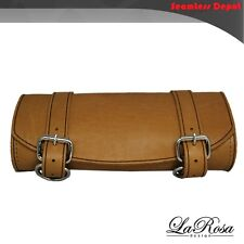 La Rosa Front Tool Bag Harley Softail Sportster Dyna Universal Fit - Tan Leather
