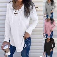 Women V-Neck Criss Cross Strap Long Sleeve T-Shirt Top Autumn Blouse Tunic ZC