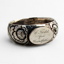 Ring Form Repousse Floral Napkin Ring Coin Silver 1870 Inscribed