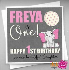 Personalised 1st First Birthday Card Daughter, Granddaughter, Niece, Elephant