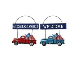 Patriotic Red or Blue Metal Truck decor door hanging signs NWT you choose