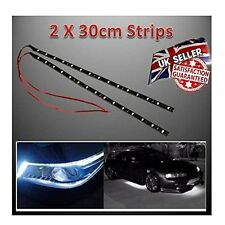 2 X 15 LED Flexible Strip SMD IP65 Waterproof Light -12V Car Home 30cm White