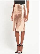 RIVER ISLAND ROSE GOLD METALLIC PENCIL MIDI SKIRT UK 18 BNWT **SOLD OUT**