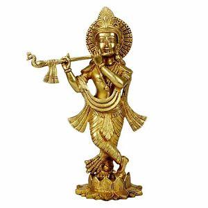 "Brass Lord Krishna Playing Flute Standing on Lotus Idol Statue Figurine 12"""