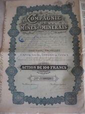 Vintage share certificate Stocks Bonds Compagnie de Mines et Minerals 1926