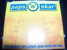 Paps 'n' Skar You Want My Love (Din Don Da Da) Aust Remixes CD Single – Like New