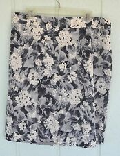 NWOT TALBOTS 14W Lined Gray White Floral Pencil Skirt Career