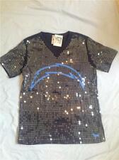 VICTORIAS SECRET NFL LOVE PINK SAN DIEGO CHARGERS SHIRT SEQUINS ALL OVER XS