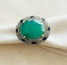 Scintillating Diamond, Emerald, Blue Sapphire & Oxidized Sterling Silver Ring