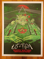 ROGER WATERS US + THEM 2017 CHICAGO POSTER ANGRYBLUE #63/1000 PINK FLOYD RESIST