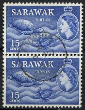 Sarawak 1964-5 sg#209, 15c BLU OLTREMARE QEII definitiva 2nd WMK USATO COPPIA #d46577