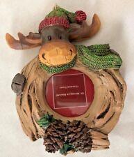 "Multi 4"" Moose Frame Ornament Figurine Holds Round 1 1/2 Photo"