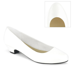 Pleaser Pink Label Low Heels for Men Sexy Pumps White Shoes Size US 9-16