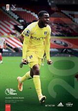 Fulham v Crystal Palace 2020/21 Premier League football programme