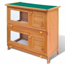 Rabbit Hutch Animal House Pet Cage 4 Doors Wood Run Guinea Pig Ferret 2 Layers