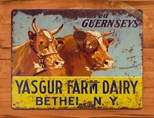TIN Sign Guernsey Cow Dairy Aged Worn Rooster Chicken Farm Barn Coop
