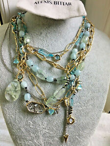 NEW Alexis Bittar Aquamarine With Cerulean Crystals Eclectic Linked Necklace
