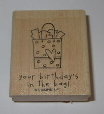 Your Birthday's In The Bag Rubber Stamp Stampin' Up! Rare Retired Heart Wood Mtd