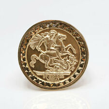 9ct Gold full size sovereign Medallion Ring