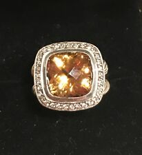 David Yurman sterling silver Albion diamond and citrine ring Sz 5
