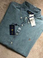 RALPH LAUREN CHAMBRAY BLUE COTTON SLIM L/S SHIRT TOP USA MODEL - XXL - NEW TAGS