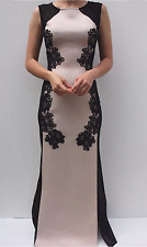 Lipsy Michelle Keegan Size 8 Maxi Dress Lace Panel Nude and Black Prom Occasion
