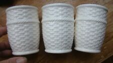 """Crabtree & Evelyn Porcelain Cup Votive 3.5"""" Scarborough Basketweave White Lot 3"""