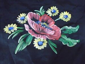 Vintage hand painted on silk Poppies pillow case with black cotton backing