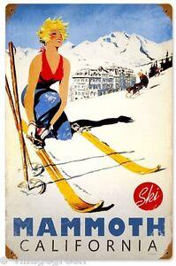 "Ski Mammoth California 36""x24"" Steel Sign Snowboard Sports New Vintage Repro USA"