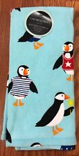 NWT Cynthia Rowley Puffin Kitchen Towels Blue Set of 2 Birds Penguin