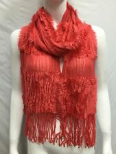 KNITTED WITH FUR WINTER SCARF THICK BULKY COLOR CORAL