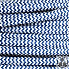 Textilkabel Stoffkabel Lampen-Kabel Stromkabe Königsblau Zick-Zack 3adrig