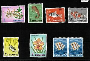 Singapore, 1962 Orchids, fish & birds small selection LMM ** (S096)