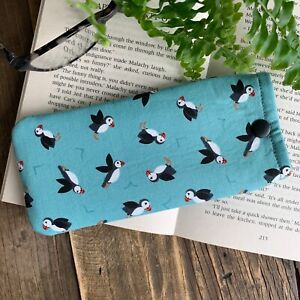 Puffin fabric glasses case Bird spectacle snap pouch Handmade gift idea