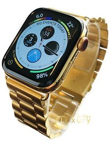 24K Gold Plated 44MM Apple Watch SERIES 4 With Gold Links Band